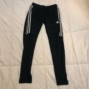 Adidas stripped joggers with zippers